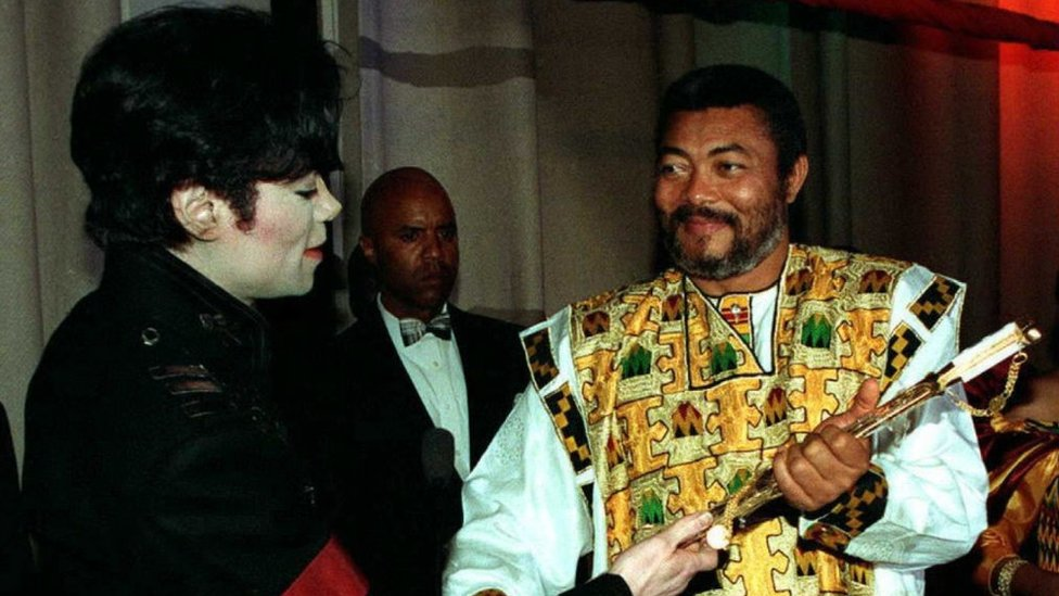 Jerry Rawlings (right) and Michael Jackson