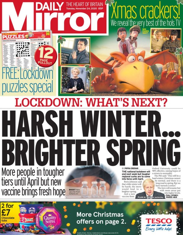 The Mirror front page 24 November