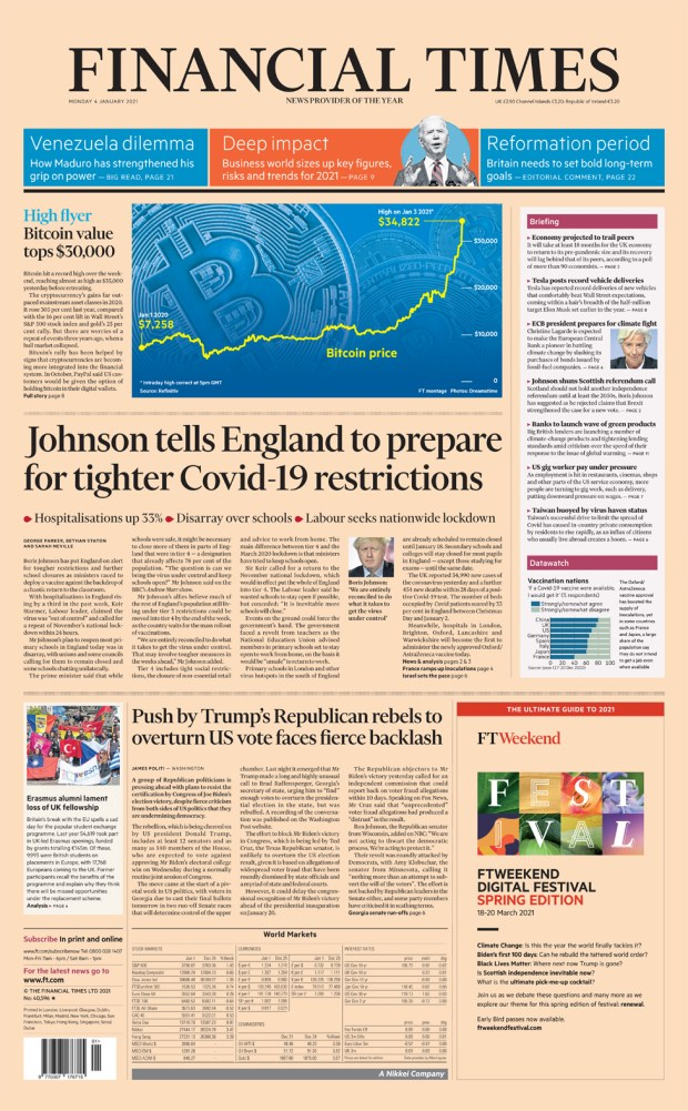 Front page of the Financial Times