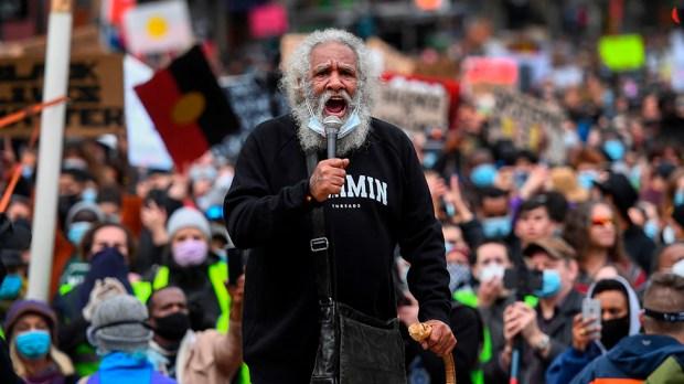 Protester addresses crowds in Australia