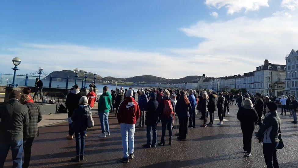 protestors in Llandudno