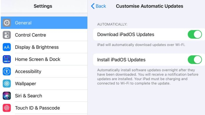iPadOS update settings