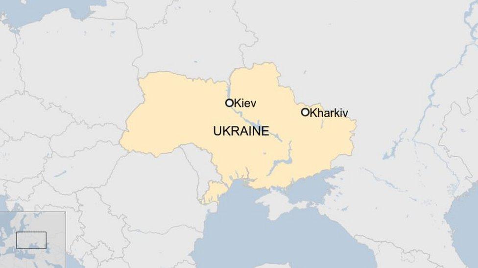 Map of Ukraine showing Kharkiv