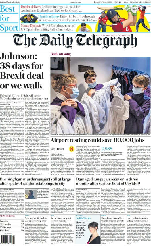 Daily Telegraph front page, 7/9/20