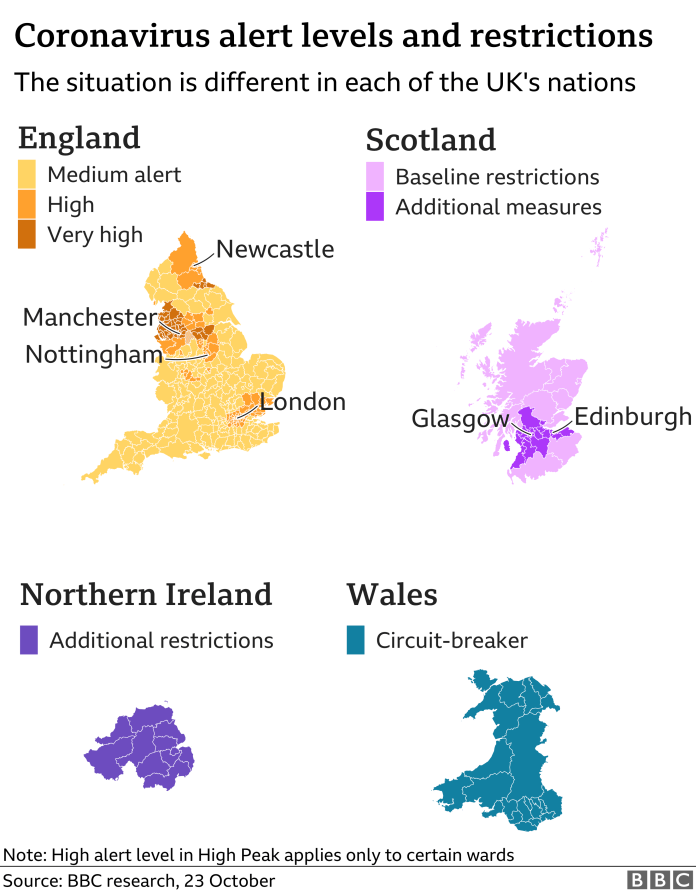 Maps show how extra restrictions are being brought in in the different regions of the UK