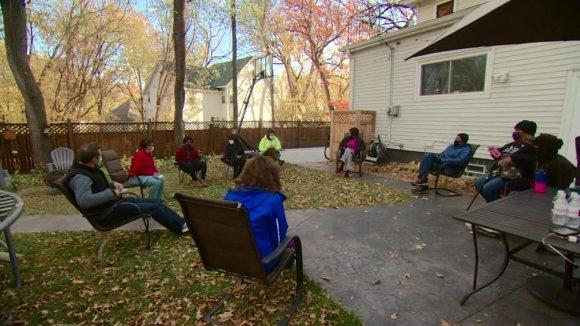 A backyard neighbourhood gathering