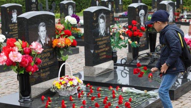 Cementerio en San Petersburgo, Rusia, donde descansan los restos de los marinos que murieron en el accidente del submarino Kursk.