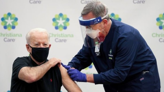 President-elect Joe Biden receives his second dose of a vaccine against the coronavirus disease in Newark, Delaware