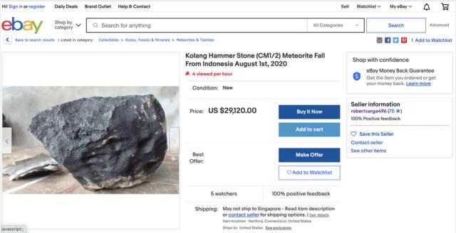Ebay screenshot listing a piece of the meteorite