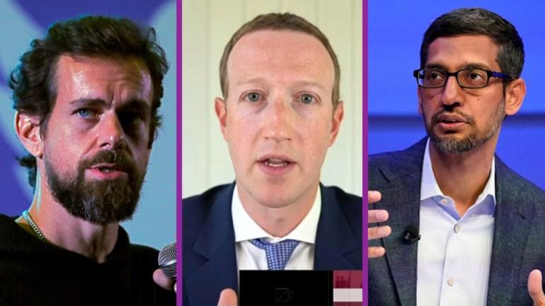 Dorsey, Zuckerberg and Pichai