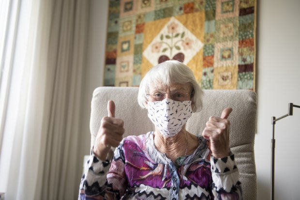 Older woman wearing a facemask
