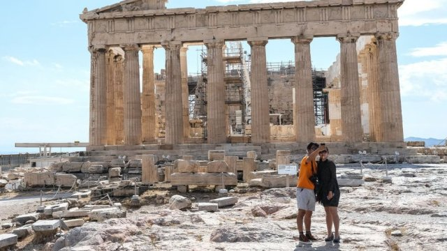 Tourists in Greece