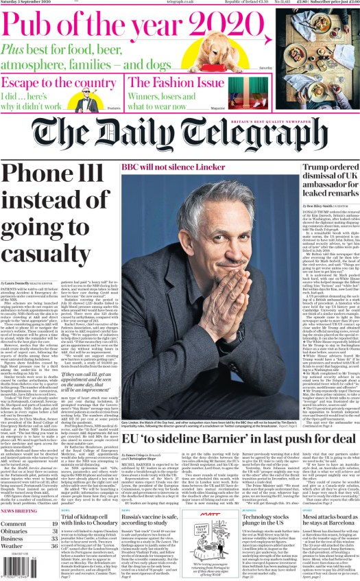 The Telegraph front page 5 September 2020