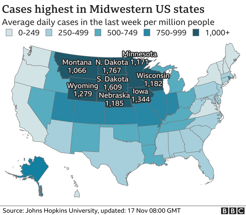 Map of US shows cases are highest in midwestern states