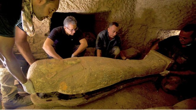 A team of archaeologists and experts with the Egyptian Ministry of Tourism and Antiquities recently uncovered a burial complex in the necropolis of Saqqara, containing well-preserved sealed coffins, made of wood, and believed to be dating back some 2,500 years