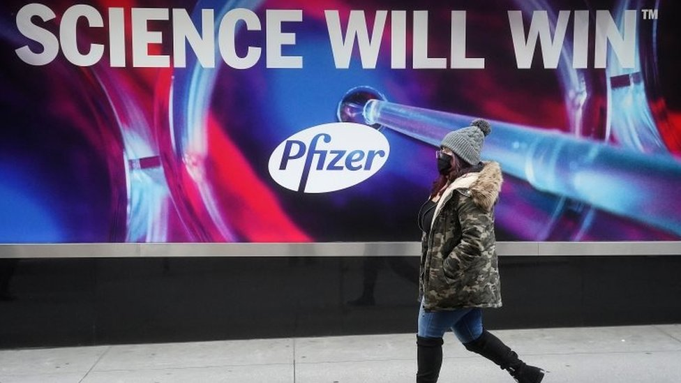 A billboard outside the Pfizer HQ in New York