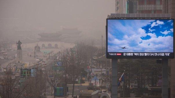 Imagen de Corea del Sur, que muestra la contaminación de aire
