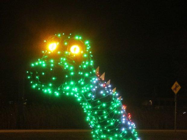 Dinosaur's head in lights