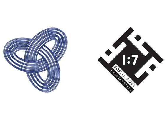 O símbolo do Sustentantismo (à esq.) e a representação do foodprint de combustíveis fósseis dos produtos alimentares