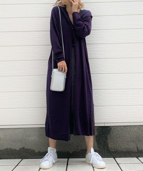 【セール トップス】モヘヤフードコーディガン(カーディガン/ボレロ)|Q(キュー)のファッション