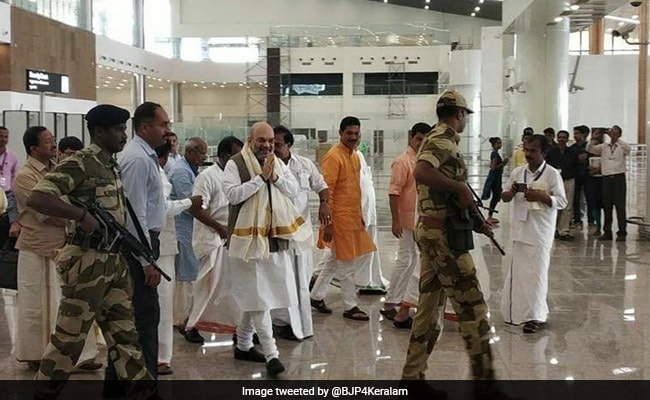 Amit Shah Becomes 'First' Passenger At New Kerala's Kannur Airport