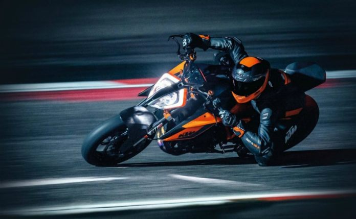 The KTM 1290 Super Duke R was showcased at the EICMA 2019 show