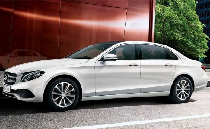The Mercedes-Benz E 350d differentiates itself with larger 18-inch alloy wheels