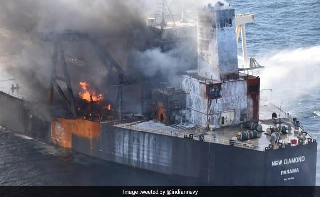 Watch: INS Sahyadri Escorts Oil Tanker That Caught Fire Off Lankan Coast