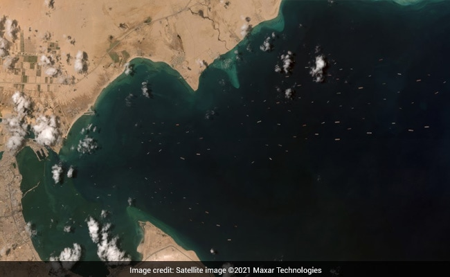 Satellite Pics Show 120 Anchored Ships Waiting For Suez Canal To Clear
