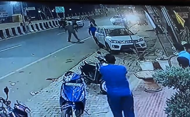 On CCTV, UP Cops Fire At BJP Leader's Car, He Says 'Conspiracy To Kill'