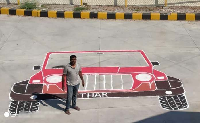 The record breaking Mahindra Thar rangoli created byPunith G. R. measures 20 feet x 18 feet