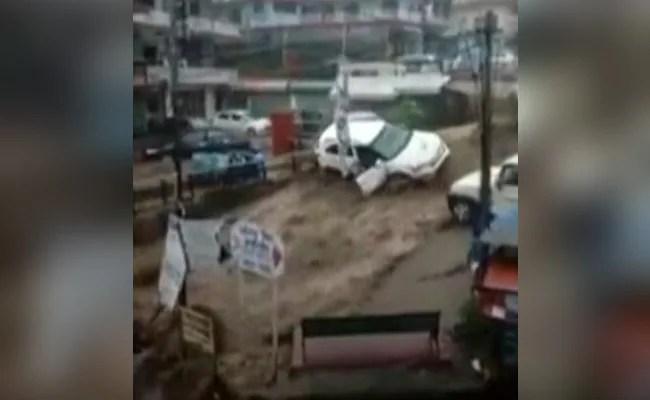 Cars Swept Away After Cloudburst Triggers Flash Floods In Dharamshala