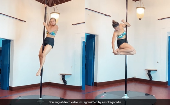 Count The Number Of Times Aashka Goradia Swirls In This Pole Dancing Video