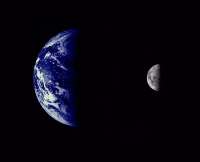 An image of Earth and the moon created from photos by Mariner 10, launched in 1973.