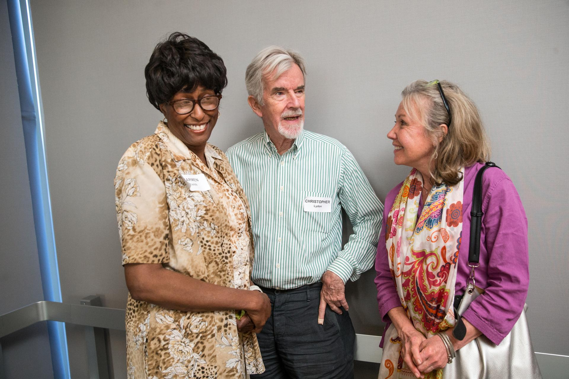 06/14/2017 BOSTON, MA L-R Carmen Fields (cq), Christopher Lyndon (cq) and Robin Parmelee (cq) attend a cocktail party at WGBH studios. (Aram Boghosian for The Boston Globe)