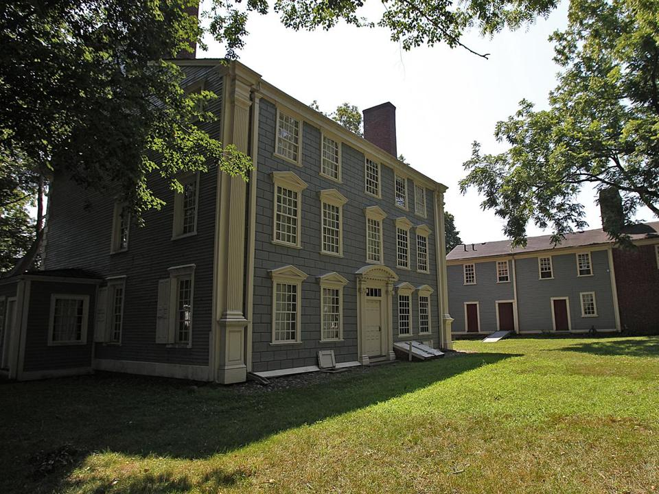 The Royall House (above left) and Slave Quarters (rear) in Medford, was built by Isaac Royall, a trader in rum, sugar, and slaves.