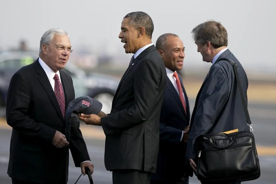 Mayor Thomas M. Menino presented a Red Sox cap to President Obama on Wednesday.