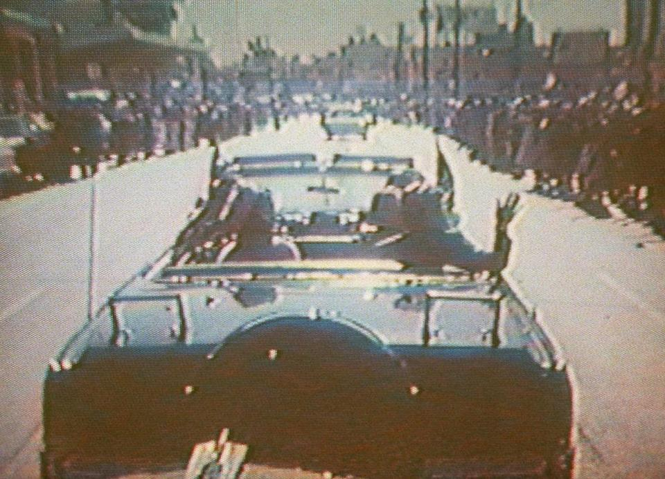 President Kenney's limousine in Dallas, in a footage taken by presidential aide Dave Powers and photographed from a television screen.