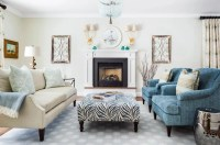 A dark living room, refreshed with cream and teal - The ...