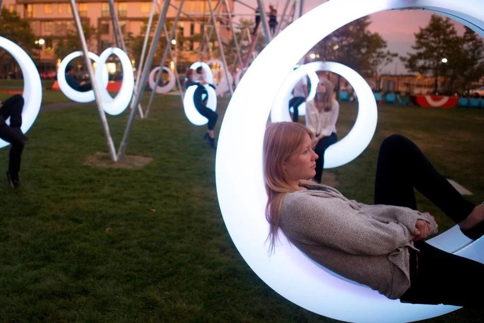Interactive art piece Swing Time lights up the Lawn on D