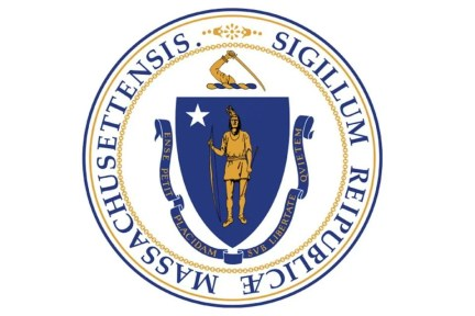 The Massachusetts state seal, which displays the same image as the flag.