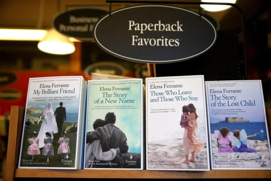 A row of Elena Ferrante books at the Harvard Book Store.