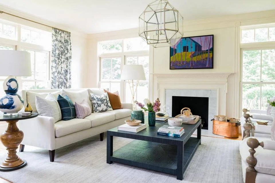living room boston paint colors for with brick fireplace a wayland goes from fussy to fabulous the globe