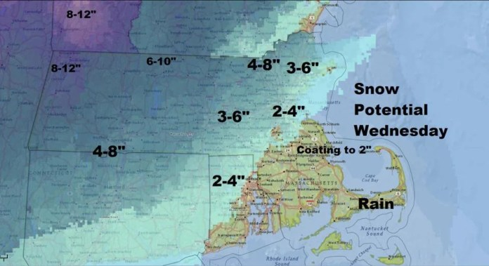 Preliminary snow totals look to be heaviest west of Interstate 495 and north of the Mass. Pike.