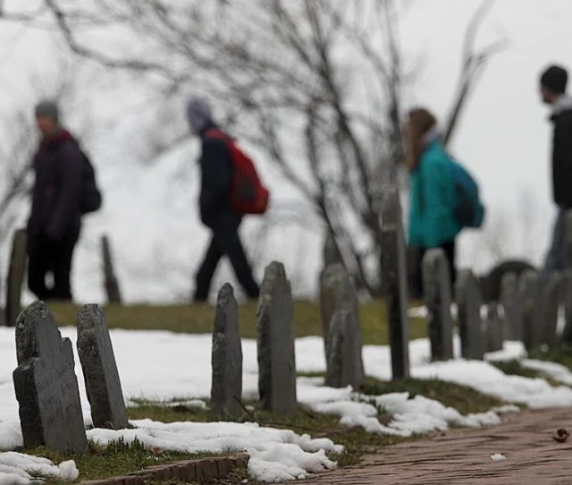 The Weather Was Cold And Gray As Tourists Walked Through The Copps Hill Burying Ground In