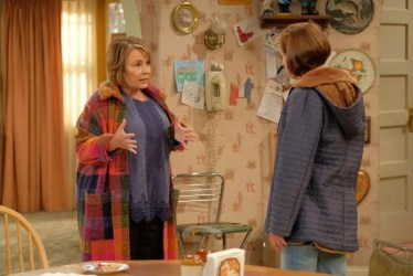 "On the ""Roseanne"" revival, Roseanne Conner clashes with her liberal sister, Jackie, played by Laurie Metcalf."