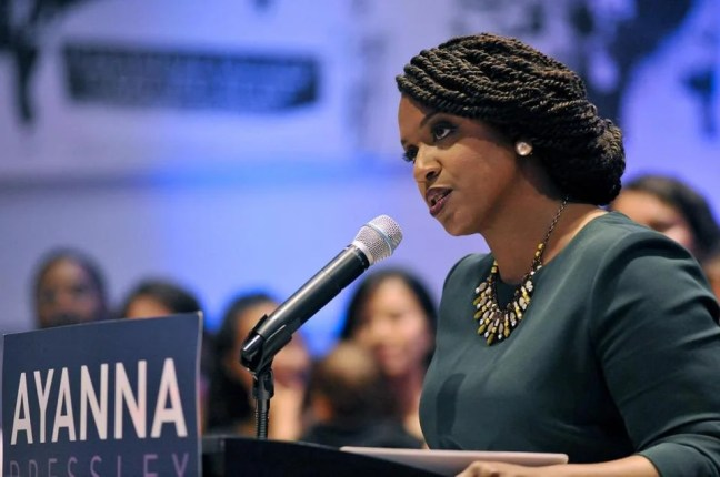 Ayanna Pressley, Boston City Council member and Democratic candidate for congress, delivers her victory speech at the IBEW Local 103 in Dorchester, Massachusetts, on September 4, 2018. - Pressley defeated incumbent Michael Capuano in the Democratic primary for Massachusetts's 7th congressional district. (Photo by Joseph PREZIOSO / AFP)JOSEPH PREZIOSO/AFP/Getty Images