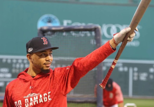 Mookie Betts at batting practice.