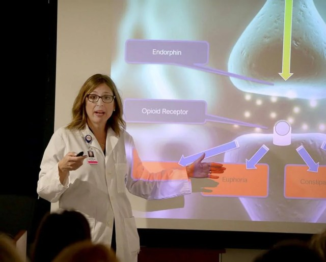 Bridge Clinic medical director Dr. Laura G. Kehoe tailored her course to emergency room staff, incorporating a powerful addition: a talk by someone in recovery from opioid addiction.
