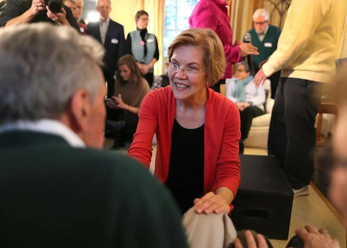 Senator Elizabeth Warren made a stop over the weekend at the home of former N.H. state Senator Sylvia Larsen, where she greeted attendees.